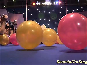 huge-boobed milf hook-up display on stage