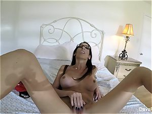 big-titted black-haired Dava's home vid onanism