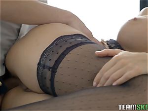 Smoking super hot teenager jammed in her taut labia