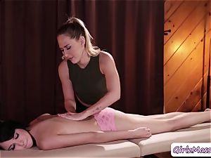 masseur Carter Cruise puts yoni eggs Cadey Mercurys gash and licks it