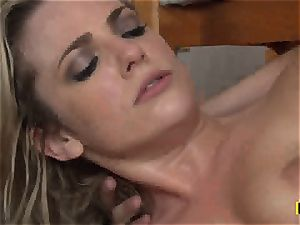 Bailey Blue gets her trimmed labia stuffed with penis