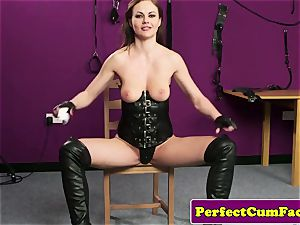 Leather fetish honey perfectly nutted on face