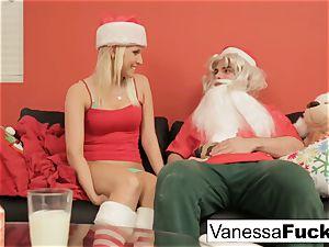 Vanessa letting Santa bang her tight moist vag