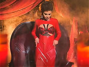 slender small Ariana Marie super-sexy rubber solo onanism