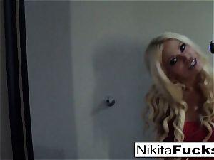 Solo fishnet solo with super-steamy cougar Nikita Von James