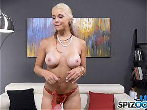 stunning wild babe Sarah Vandella has a backside speculum wedged in her butt