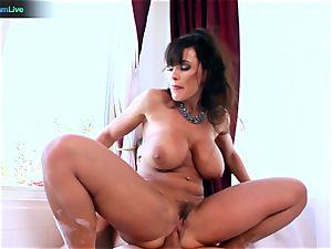 Lisa Ann likes sitting into Toni Ribas fat bone