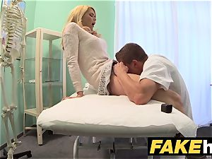 fake medical center muddy doctor gives blonde Czech honey