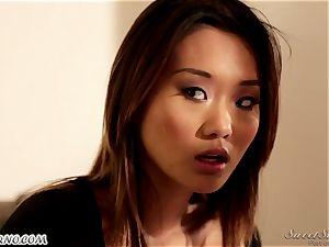 slender asian chick Alina Li with diminutive mounds gives unbelievable massage