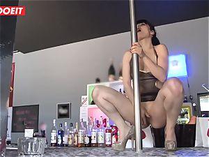 LETSDOEIT - French Stripper slut gangbanged at Work