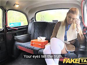 faux cab Nurse in wondrous underwear has car orgy