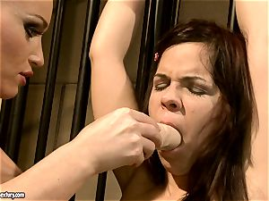 Kathia Nobili makes a sizzling babe inhale a fake penis
