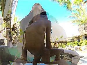 swimsuit sweetie Chloe Amour penetrated after a dip in the pool