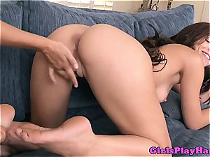 super-hot dark haired in lingerie takes an entire knuckle in her