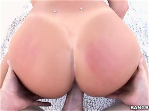 August Ames taking a thick fuckpole in her muddy muff