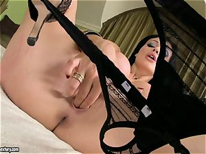 nympho Aletta Ocean sates her velvety labia with those nasty thumbs