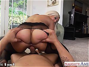 Housewife Bridgette B. gets large tits torn up in point of view