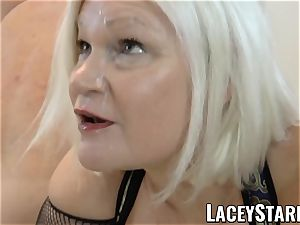 LACEYSTARR - UK grandmother group-fucked and slurping spunk