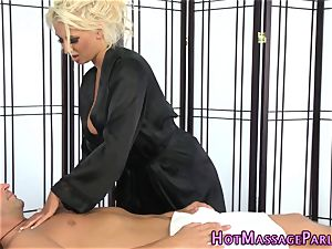 busty masseuse strokes sausage