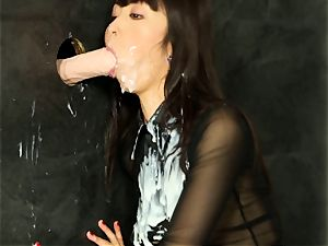 asian Marica Hase getting mass ejaculation at the gloryhole